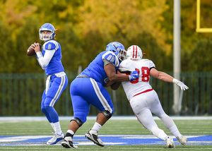 CCSU 6-foot-6 sophomore quarterback Jacob Dolegala leads the Blue Devils into the Carrier Dome on Friday night at 7 p.m. in what's a homecoming for him and his brother.